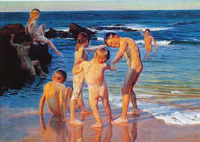 Niños en la playa, 1905.